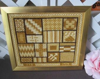 Needlepoint sampler 1974 framed