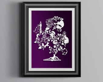 Fairy Tale Papercut - framed - paper cut out, wall art, paper cut, papercutting, paper cutting, papercut art, paper cut art, nursery art