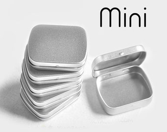 40 pcs Mini Plain Silver Tins -  Cases for Mint, Nuts, Candy, accessories - Party Wedding Favors Containers
