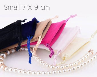 50 (Small) Premium Velvet Drawstring Pouches- Bags for Craft, Jewelry, Accessories, Necklace, Earrings - Wedding Favors, Gifts Packaging