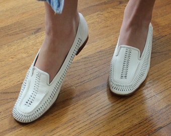White Leather Loafers Flats Vintage