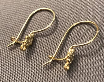 Two (2) Pair French Hook Earring Components, Vermeil Gold