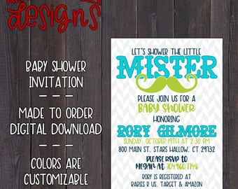 Little Mister Baby Shower Invitation