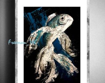 Deep blue, Fish abstract fine art giclee print