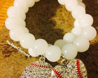 Baseball Rhinestone Bracelets | Large Round & Heart Shape Baseball Charm