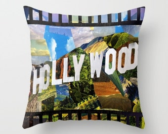 Hollywood Throw Pillow, Hollywood decor, Home accents, Indoor OR Outdoor Pillow, accent pillow