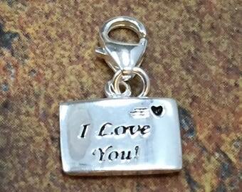 I Love You Charm, I Love You Letter Pendant, Sterling Silver Charm, Sterling Silver Pendant, PS4259