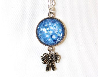 Blue Hydrangea Flower Floral Necklace Silver Finish Pendant Necklace with Bow Charm