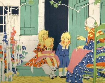 Vintage retro Art Deco children's book illustration art Janet Laura Scott children grandmother digital download printable instant image
