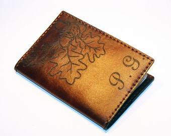 Personalized Passport Cover With Oak Leaves! Leather Passport Cover With Initials! Passport Holder! Leather Travel Passport Cover!