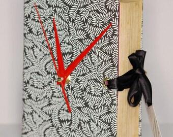 Vintage Book Clock - Black & White Fern