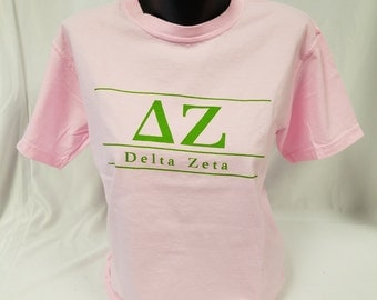 Christmas in July Sale!  Delta Zeta Comfort Color Short Sleeve Tshirt, Blossom