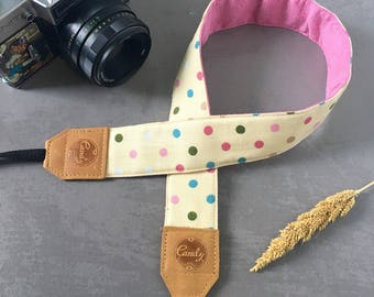 Polka Dot DSLR camera strap,Vanila  Mixed Polkadots Camera Strap, leather camera Strap ,