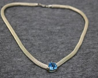Sterling Silver, Vintage Necklace  with Blue Gemstone