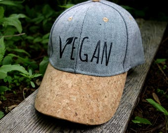 Vegan Hat/ Ball Cap/ Cork Hat/ Cork and Herringbone