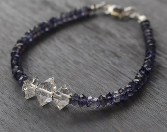 Iolite bracelet, crystal quartz bracelet, gemstone beaded bracelet, iolite jewelry, beaded bracelet, gemstone stacking bracelet,