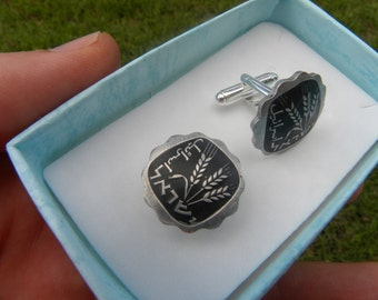 Jewish Authentic one agaro coin from Israel painted  cuff links for Jewish Men nice gift for Hanukkah