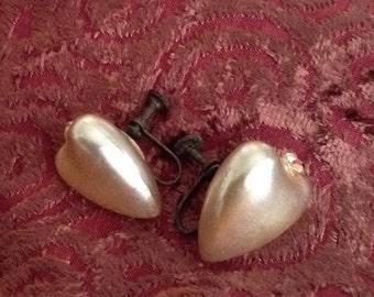 Vintage Pearlixed Heart Shaped Earrings