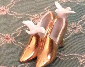 Vintage porcelain gold shoes with birds