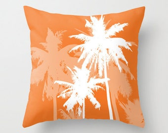 Palm Trees Pillow Cover - Tropical Beach Decor - Orange and White - Modern Home Decor - includes insert