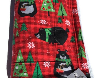 Black Bear Christmas Blanket, Cat Cover, Dog Bed for Couch, Holiday Gifts, Flannel Baby Blanket, Black Bear Fabric, Red Blanket, Under 30