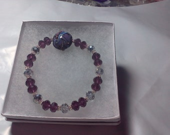 Gorgeous Purple Lampwork Beaded Bracelet