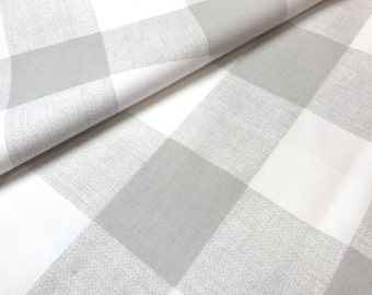 Swedish Check Abalone Grey Plaid Fabric by the Yard Designer Cotton Drapery Fabric Upholstery Fabric Neutral Check Fabric Abalone Grey G169