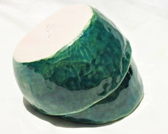 Sea Foam Green & Teal Pinch Pot Nesting Bowls