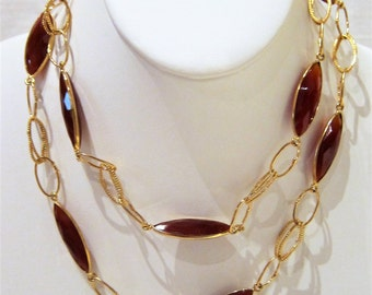 Carnelian Gold Plated Long Necklace