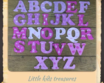 8cm Wooden painted alphabet letters pinks / girls individually hand painted childrens projects.  Little kids treasures