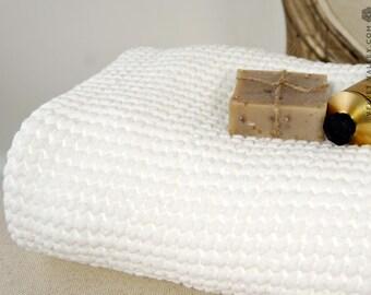 SALE-Linen cotton white bath towel- Waffle textured linen towel- Softened linen washcloth- Beach towel-SPA towel