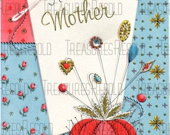 Happy Mothers Day Patchwork Quilt Pin Cushion Hat Pin Card #360 Digital Download