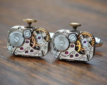 Girard Perregaux Watch Movement Cufflinks - Steampunk Gold Vintage Wedding Groom Gift Mens Christmas Present