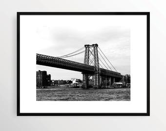 New York City Photography Print Bridge NYC Black and White B&W NY art Urban Monochrome Manhattan Williamsburg Bridge