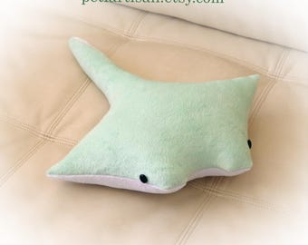 Manta Ray Pillow, Stingray Pillow, Toy Pillow, 3D Pillow, Stuffed Animal, Nautical Decor, Beach House Decor