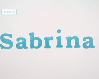 Applied interfacing name 7 letters (to customize) glittery Blue Lagoon flex