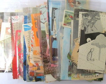 Small colour themed vintage paper ephemera pack: 20 mixed pieces for craft. Lucky dip pack for scrapbooks, journals, smash books