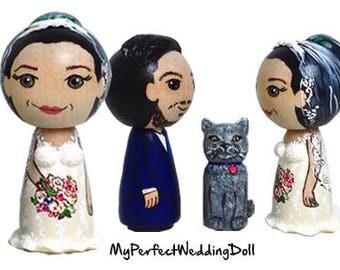 Bride+Groom+Cat/Wedding Cake Topper (approx. 6,5 cm tall)