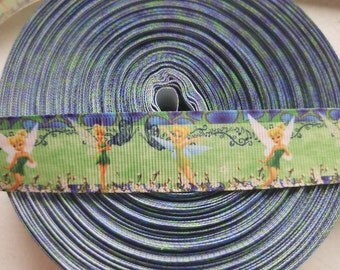 Tinkerbell Custom One inch 1 Yard Grosgrain Ribbon