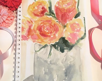 Watercolor rose note/sketch book  I use these for business meetings and also as my sketchbook,50 pages, heavy weight paper