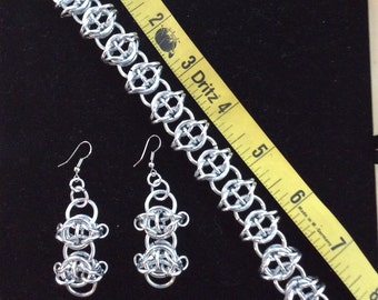 Chain maille Celtic weave bracelet and earrings