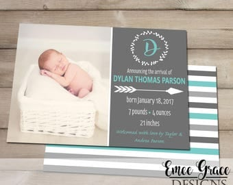 Baby Boy Birth Announcement - 5x7 Digital File - Fully Customizable - It's a Boy - Digital Download