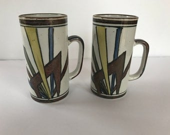Vintage Pair of Extra Tall Ceramic Coffee Mugs with Geometric Design - Yellow, Blue, Green, Brown-  Otagiri?
