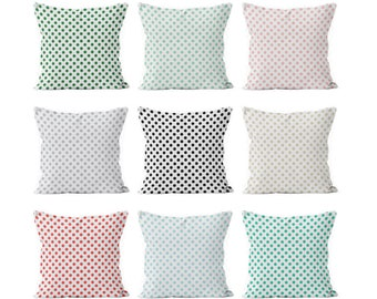 45 colors Polka Dot Pillow Cover, green blush pink black blue gray small polka dots Mix and match basic pillow cover, girl pillow cover