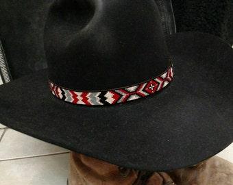 The San Antonio - Custom Beadwork Hand Beaded HatBand Native American Cowboy Hatband