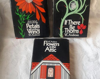 Set of Three VC Andrews Books, Dollanganger Series, Flowers In the Attic, Petals on Wind, If There Be Thorns, Gothic Fiction Saga, Hardcover