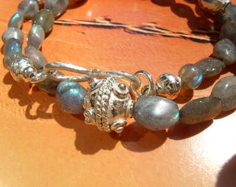Indian LABRADORITE NECKLACE nuggets beads silver plated