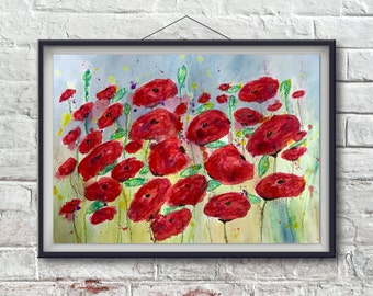 Red Poppies Painting, Flower Painting, Poppy Painting, Poppy Art, Abstract Flower Painting, Watercolor Red Poppy Painting