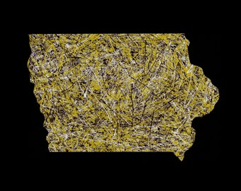 Iowa Art, Hawkeye Art, University of Iowa Art, Man Cave Art, Shape of Iowa Art, Iowa Hawkeye Art, Iowa Hawkeyes
