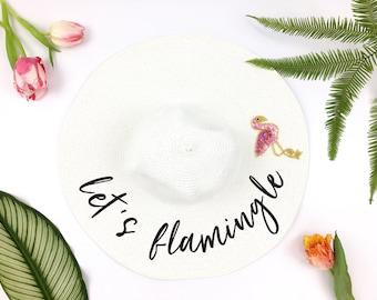 lets flamingle Hat - Sequin Sun Hat - Custom floppy hat- mrs hat - Just Married Hat - lets flaminge - flamingo bachelorette -  bride hat